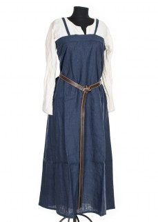 Viking Apron dress in dark blue linen