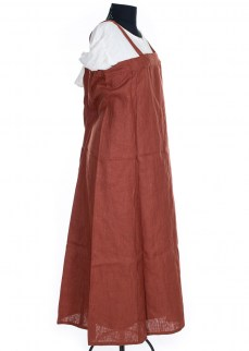 Viking Apron dress in madder red linen