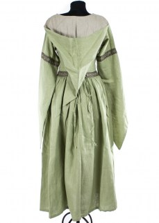 "Fantasydress ""Aurora"" in light green/ golden brown linen"