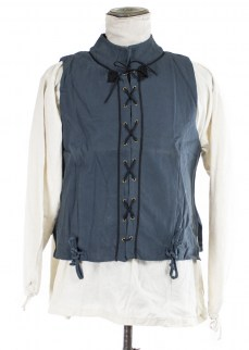 Vest/doublet in blue cotton