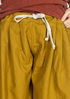 Viking puff pants in solid mustard yellow thin diamond twill wool