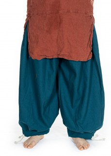 Viking puff pants in solid teal thin diamond twill wool