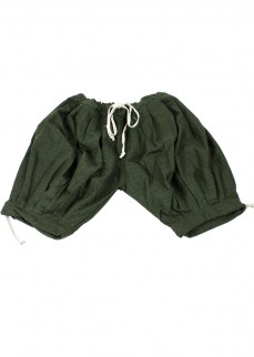 Viking puff pants in green/black diamond twill wool, kneelength