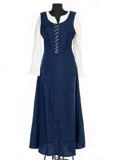 Medieval sleeveless dress in blue wool