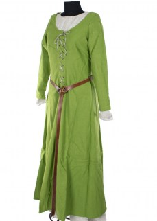 Laced dress in green twill