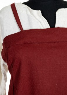 Viking Apron dresss in solid madder red diamond twill wool