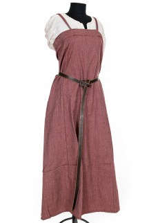 Viking apron dress in red/nature herringbone twill wool