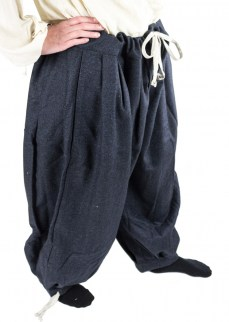 Viking puff pants in blue/black diamond twill wool