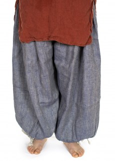 Viking puff pants in blue/nature harringbone linen