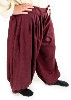 Viking puff pants in red/black diamond twill wool